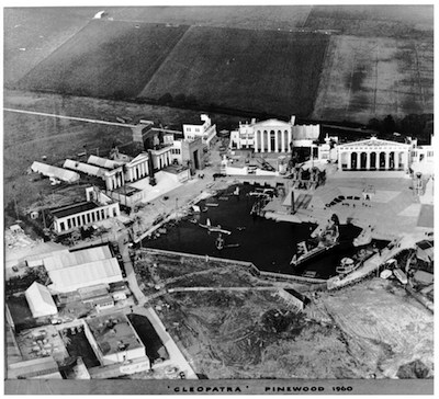 Aerial view of the Cleopatra sets under construction in 1960