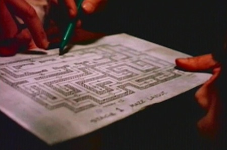 Still from DVD documentary - the Maze map built on Stage 1 at Elstree Studios