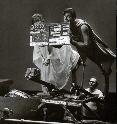Margot Kidder and Christopher Reeve in flying rig