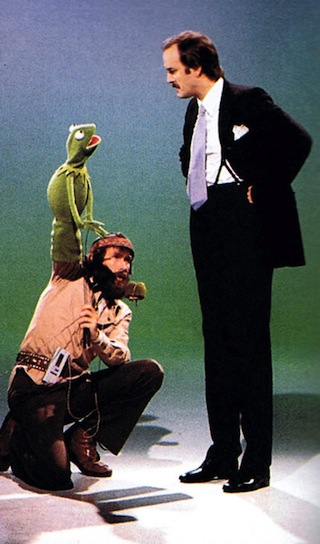Jim Henson, Kermit the Frog, John Cleese at a Muppet Show taping