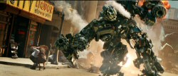 Ironhide in action on New York Street with digital backgrounds (from the Transformers movie website)