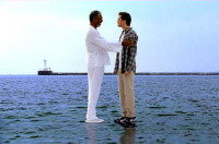Bruce Almighty - 1 - Morgan Freeman and Jim Carrey walking on Falls Lake (from IMDB.com)