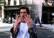 Jim Carrey in Bruce Almighty (2003) on New York Street (same location as the photos on the right)
