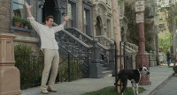 Bruce Almighty - 4 - Jim Carrey and Buster the dog on Brownstone Street (still from DVD release)