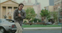 Bruce Almighty - 8 - Bruce runs across a digitally extended Courthouse Square (still from DVD release)