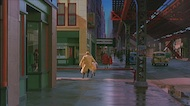 Dick Tracy on New York Street - 3 - Redressed New York Street extended with a great matte painting (still from DVD release)
