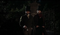 First Great Train Robbery - Stills - 3 - Sean Connery and Donald Sutherland outside No.6, named Heatherdene, adjacent to Heatherden Hall on the Pinewood Studios lot