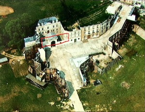 Inspector Clouseau at MGM Borehamwood - 10 - Aerial view of the Prison set (circled in red)
