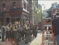 Newsies Stills - 6 - Newsies in production on New York Street (still from DVD featurette, 1991)