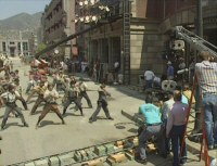 Newsies Stills - 7 - Newsies in production on New York Street (still from DVD featurette, 1991)