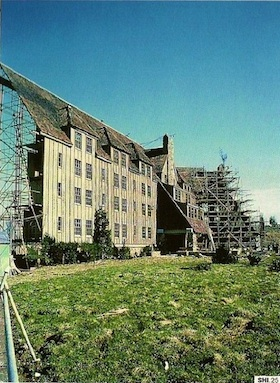 Exterior set of The Overlook Hotel built on the backlot at Elstree Studios