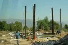 A few days later, steel uprights are in place, April 2006