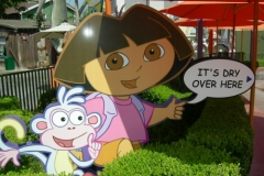 Dora the Explorer points the way to the dry relative safety of the Adventure Temple (September 2006)