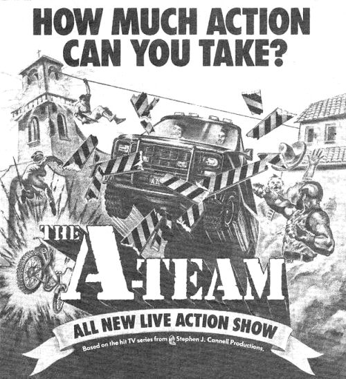 Newspaper advert for The A Team Live Stunt Show