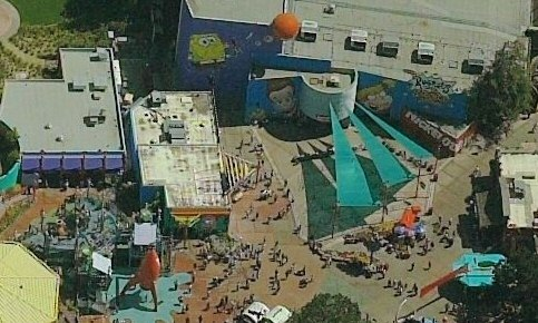 Aerial view of the Panasonic Theater featuring Totally Nickelodeon paintwork