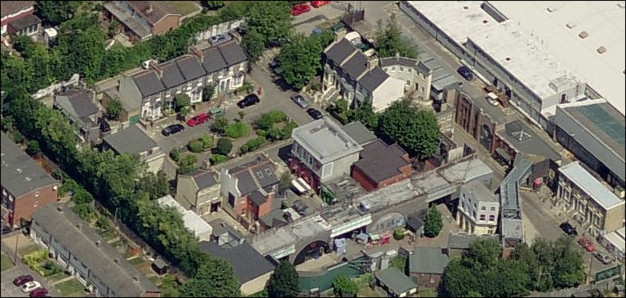 The Eastenders exterior sets with studio buildings beyond - Aerial photo from Windows Live Local